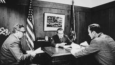 Nixon, Kissinger and Haig at Camp David